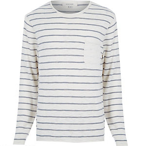 Ecru stripe marl lightweight pocket jumper