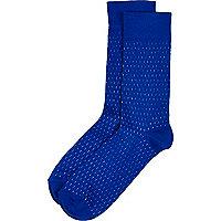 Blue micro dash socks