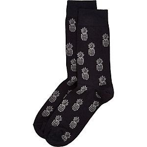 Navy pineapple print socks