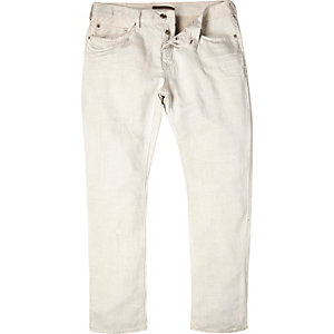 White linen slim chino pants