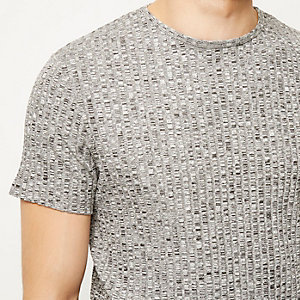 Grey chunky ribbed short sleeve t-shirt