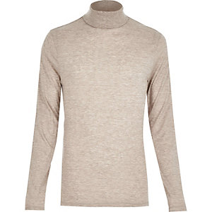 Brown jersey roll neck
