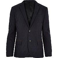 Navy quilted slim blazer