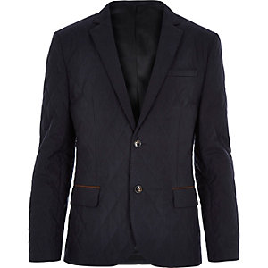 Navy quilted slim blazer