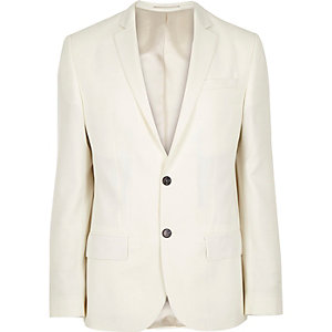 White wool-blend slim tux jacket