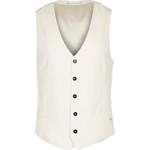 White wool-blend slim waistcoat
