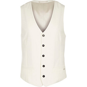 White wool-blend slim vest