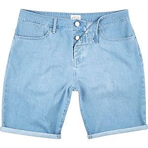 Light wash slim denim shorts