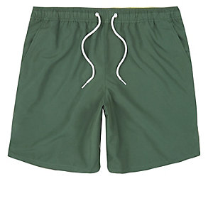 Khaki green drawstring swim shorts