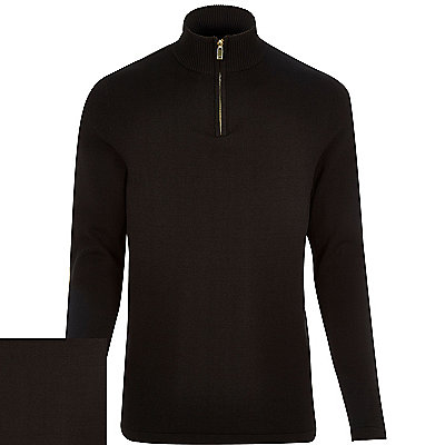 BLACK FUNNEL NECK ZIP JUMPER