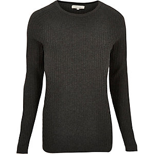 Grey ribbed crew neck sweater