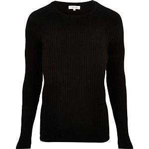 Black ribbed jumper