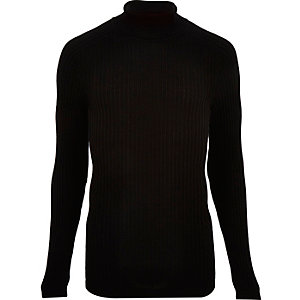 Black ribbed roll neck slim fit sweater