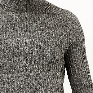 Dark grey ribbed roll neck jumper