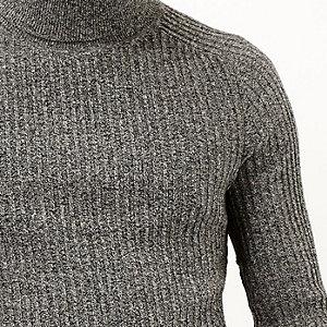 Dark grey ribbed roll neck jumper