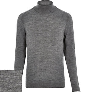 Grey merino wool roll neck jumper