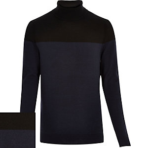 Navy merino wool roll neck jumper