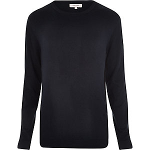 Navy crew neck ribbed side jumper