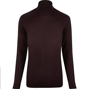 Dark red roll neck jumper