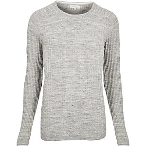 Grey space dye ribbed jumper
