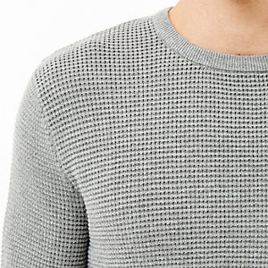 Grey waffle long sleeve top