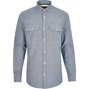Blue stripe double pocket shirt