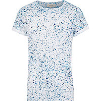 White blue paint splatter t-shirt