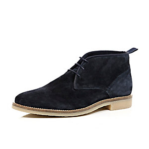 Navy blue suede chukka boots
