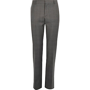 Grey check wool-blend slim suit pants