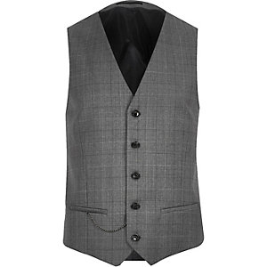 Grey check wool-blend vest