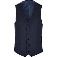 Blue slim suit waistcoat
