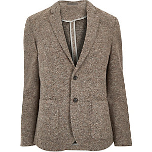 Brown brushed wool-blend slim blazer