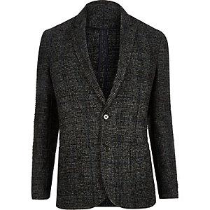 Grey wool-blend herringbone blazer