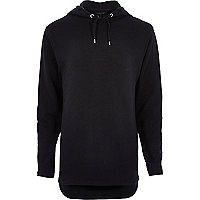 Black longer length zip side hoodie