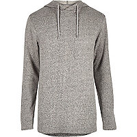 Grey longer length zip side hoodie
