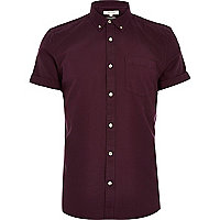 Dark purple short sleeve Oxford shirt