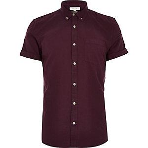 Dark purple short sleeve Oxford shirt