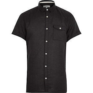 Black linen-blend short sleeve shirt