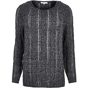 Grey brushed cable knit jumper