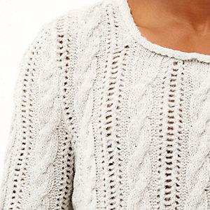 Ecru brushed cable knit jumper