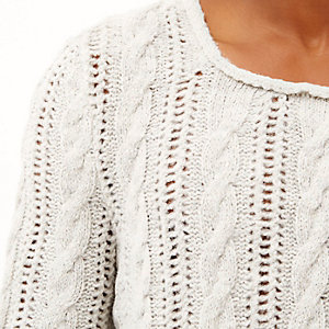 Ecru brushed cable knit sweater