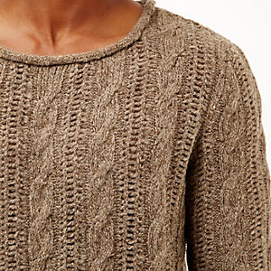 Brown brushed cable knit jumper