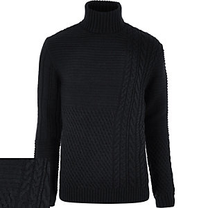 Navy chunky roll neck jumper