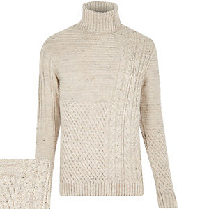 Ecru chunky roll neck jumper