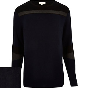 Navy blue colour block jumper
