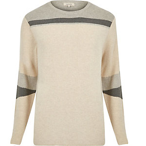 Ecru colour block jumper