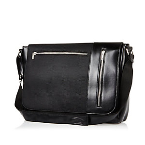 Black panelled flap over bag