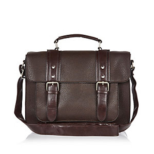 Brown pebbled satchel bag