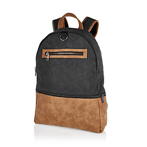 Black panelled urban backpack