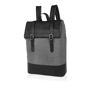 Grey roll top satchel backpack